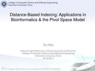 Distance-Based Indexing: Applications in Bioinformatics & the Pivot Space Model