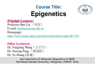Course Title: Epigenetics