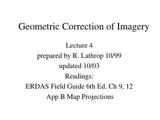 Geometric Correction of Imagery