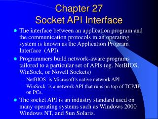 Chapter 27   Socket API Interface