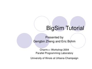 BigSim Tutorial