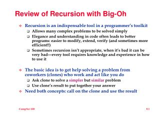 Review of Recursion with Big-Oh