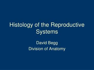 Histology of the Reproductive Systems