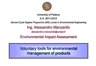 Voluntary tools for environmental management of products
