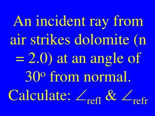 An incident ray from air strikes dolomite (n = 2.0) at an angle of 30 o  from normal.