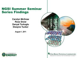 NGSI Summer Seminar Series Findings