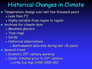 Historical Changes in Climate