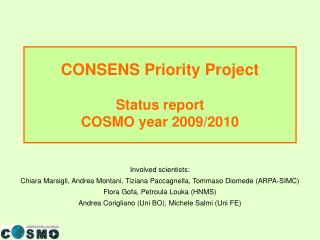 CONSENS Priority Project Status report  COSMO year 2009/2010
