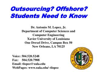Outsourcing? Offshore? Students Need to Know