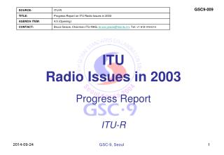 ITU  Radio Issues in 2003