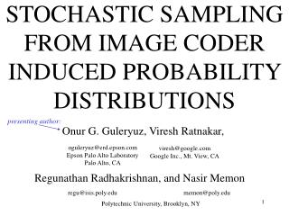 STOCHASTIC SAMPLING FROM IMAGE CODER INDUCED PROBABILITY DISTRIBUTIONS