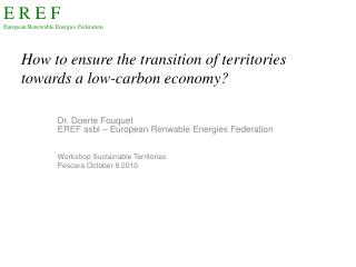 How to ensure the transition of territories towards  a  low-carbon economy ?