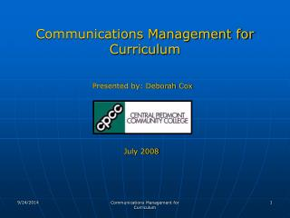 Communications Management for Curriculum