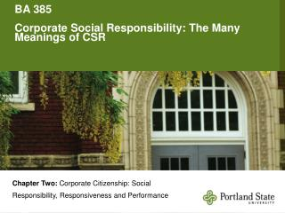 BA 385 Corporate Social Responsibility: The Many Meanings of CSR