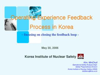 Operating Experience Feedback Process in Korea