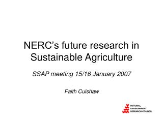 NERC's future research in Sustainable Agriculture