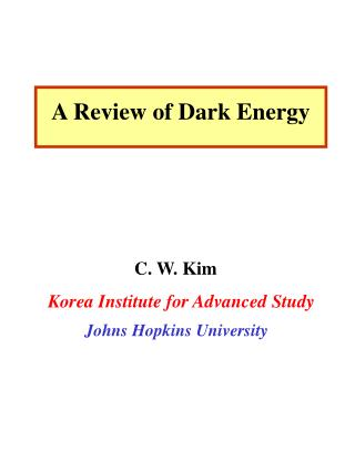 A Review of Dark Energy