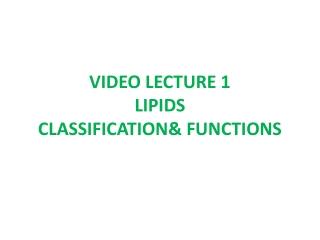 16. Phospholipids, triacylglycerols and complex lipids