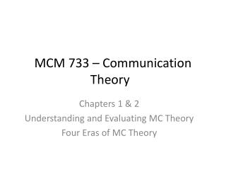 MCM 733 – Communication Theory