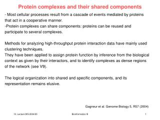 Protein complexes and their shared components