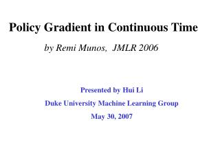 Policy Gradient in Continuous Time