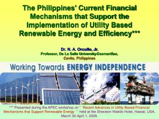 The Philippines' Current Financial Mechanisms that Support the