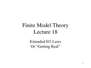 Finite Model Theory Lecture 18