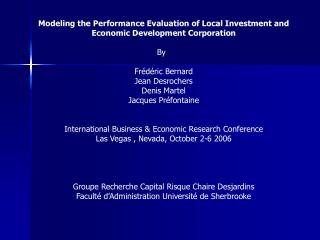 Modeling the Performance Evaluation of Local Investment and Economic Development Corporation