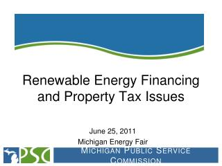Renewable Energy Financing and Property Tax Issues