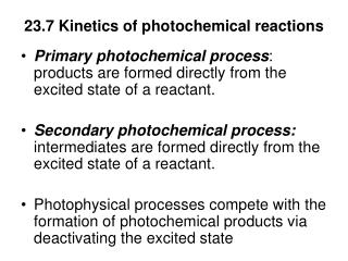 23.7 Kinetics of photochemical reactions
