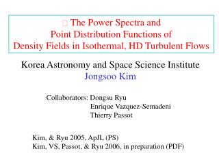   The Power Spectra and  Point Distribution Functions of