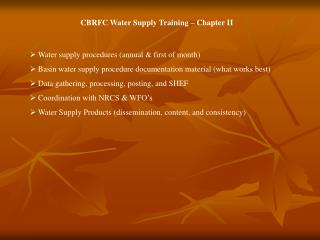 Water supply procedures (annual & first of month)