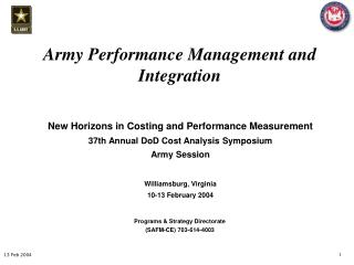 Army Performance Management and Integration