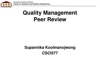 Quality Management Peer Review