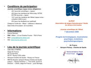 Conditions de participation : Journée scientifique (repas inclus obligatoire):