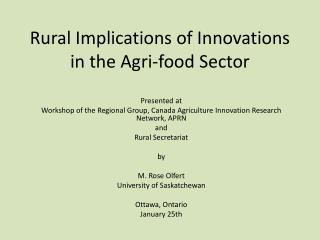 Rural Implications of Innovations in the Agri-food Sector