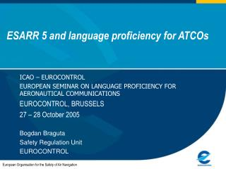 ESARR 5 and language proficiency for ATCOs
