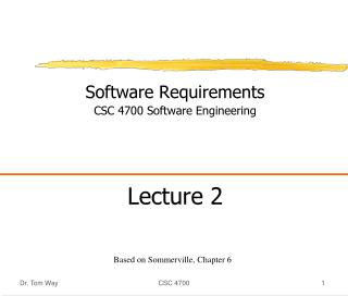Software Requirements CSC 4700 Software Engineering Lecture 2