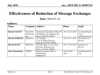 Effectiveness of Reduction of Message Exchanges