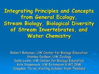 Integrating Principles and Concepts from General Ecology,  Stream Biology, Biological Diversity of Stream Invertebrates,