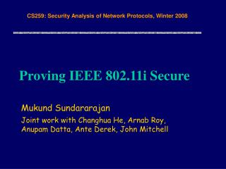 Proving IEEE 802.11i Secure