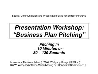 Presentation Workshop:  Business Plan Pitching