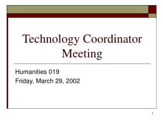 Technology Coordinator Meeting