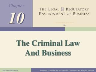 The Criminal Law And Business