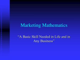 Marketing Mathematics
