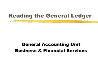 Reading the General Ledger