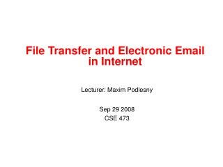 File Transfer and Electronic Email  in Internet