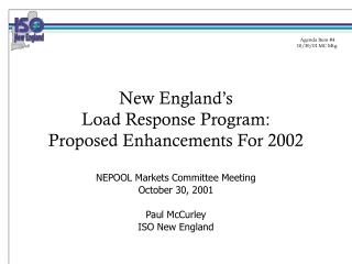 New England's Load Response Program: Proposed Enhancements For 2002