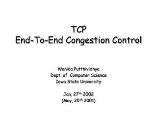 TCP End-To-End Congestion Control