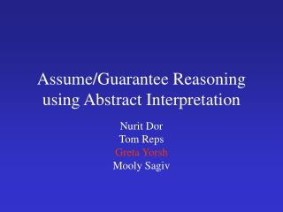 Assume/Guarantee Reasoning using Abstract Interpretation